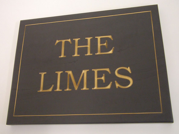 custom house sign plaque with gold engraved text