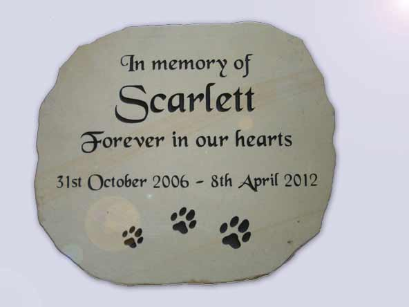 in memory of scarlett plaque with paw prints