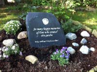 dons garden stone with text what will survive of us is love
