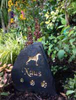 large dog pet headstone for xaus with deep gold text
