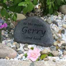 lovely memorial with custom text, to the moon gerry and back