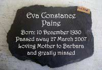 memorial plaque for eva
