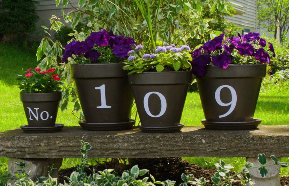 house numbers using plant pots