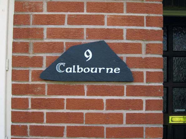 Irregular Edge Slate Plaque with number 9