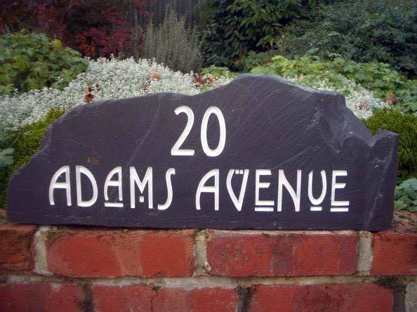 natural slate stone free standing house number and street name