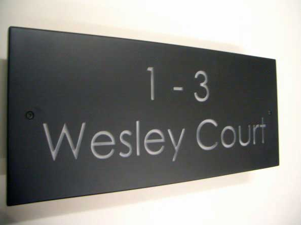 regular slate plaque with number 1 to 3 wesley court