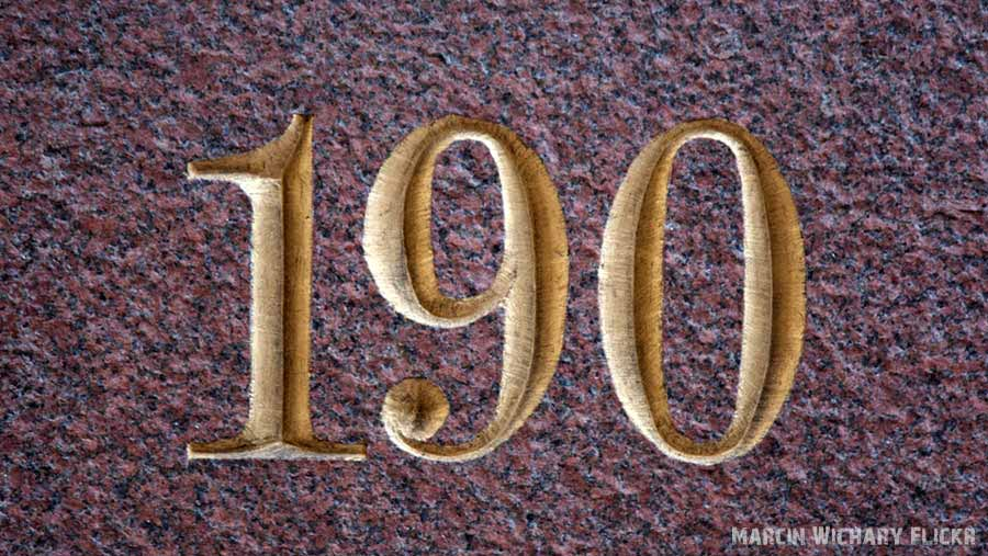 house number 190 engraved onto stone plaque