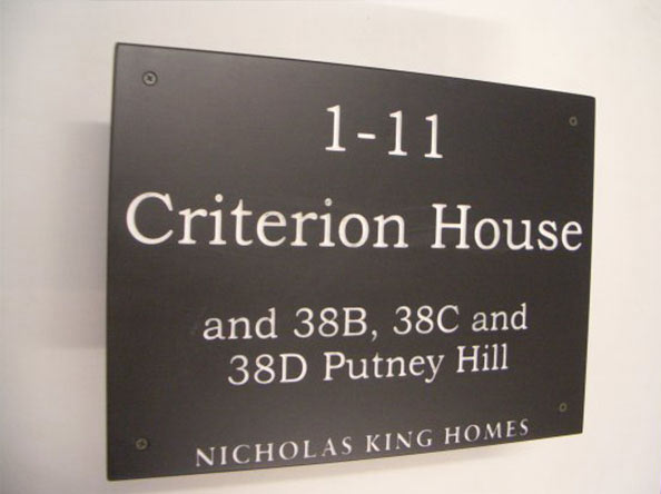 sign for criterion house with street number 1 to 11