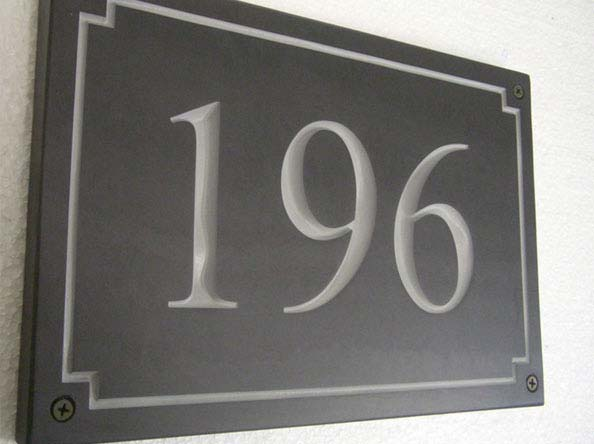 slate house plaque with number 196