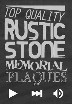 sbanner with text top quality rustic stone memorial plaques