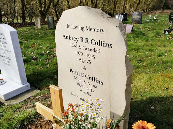 memorial stone in a cemetery for the collins family