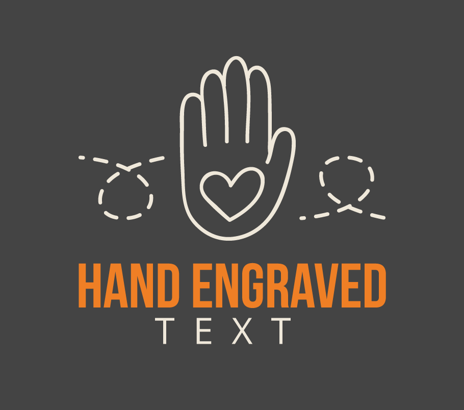 illustration of hand with text hand engraved