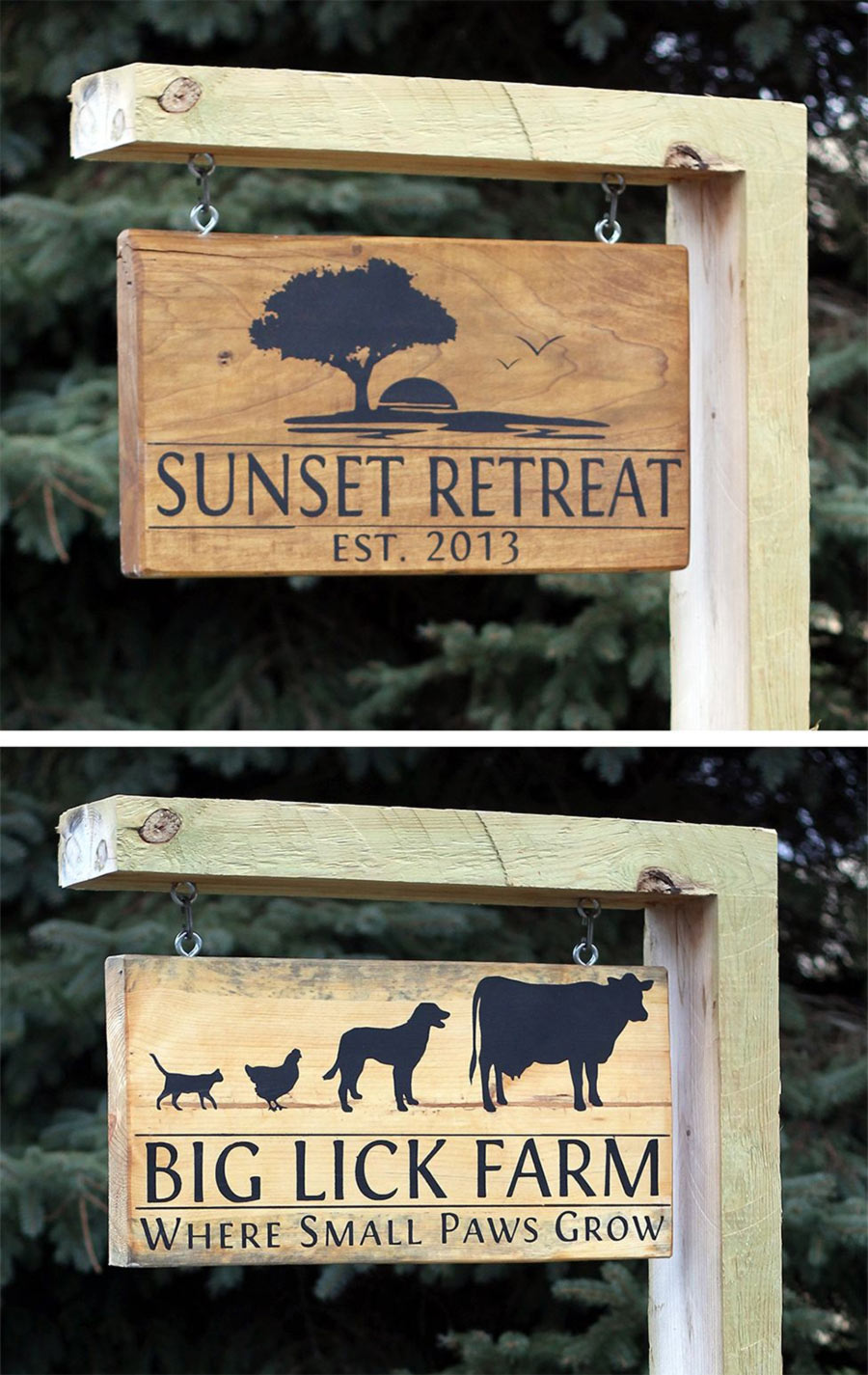 hanging wooden house signs