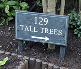 slate house sign on posts with number 129 tall trees engrave thumbnail