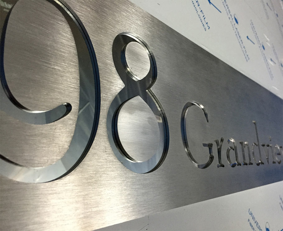 aluminium cnc house sign with number and road name