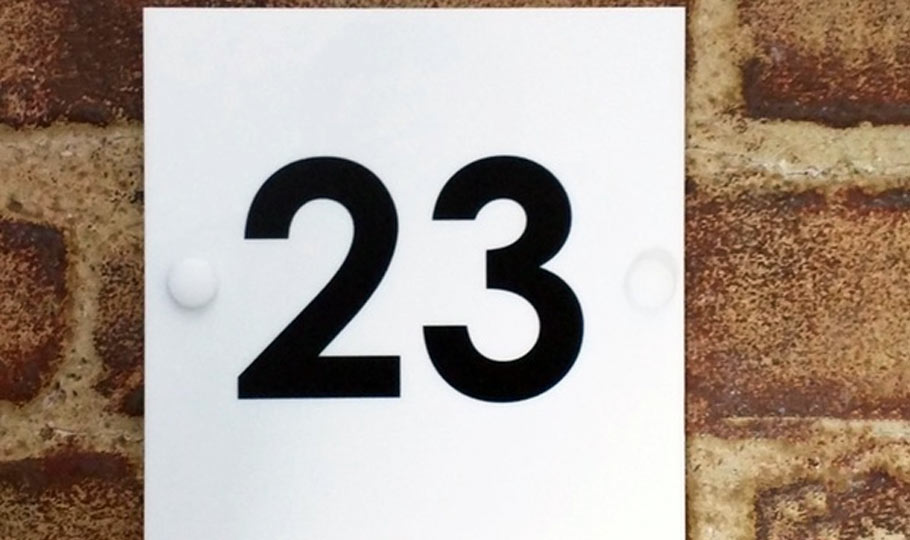 acrylic printed house number 23