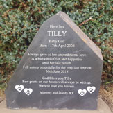 Dog headstone with personal message for tilly aka baby girl thumbnail