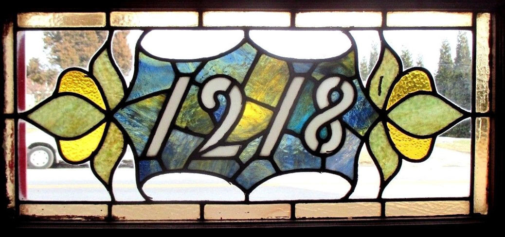 stain glassed window house number