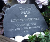 dog grave marker with message our boy max missed