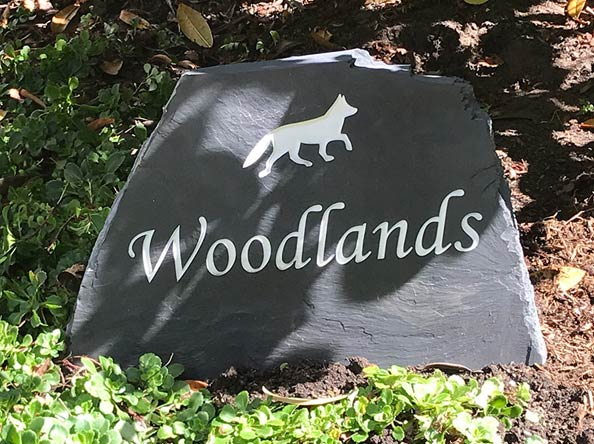 slate freestanding house sign for woodlands with fox clipart