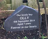 headstone marker for dog olly only aged 7 with message forever in our hearts thumbnail