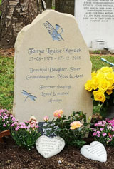 yorkstone headstone with message beautiful daughter sister granddaugter niece and aunt