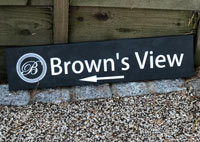 Business Sign For Browns View With Direction Arrow