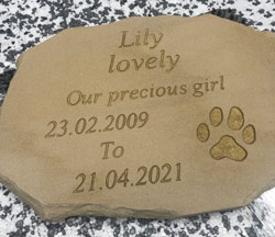 Sandstone Memorial Plaque For Lovely Dog Lily Aged 12 Thumbnail