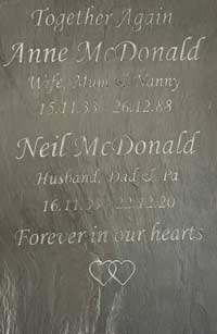 Large Together Again Slate Headstone For Husband And Wife Thumbnail