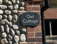 Sign Slate Plaque Attached To Owl Cottage Thumbnail