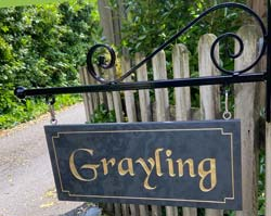Cast Iron Bracket With Slate Hanging Sign With Golden Border Small